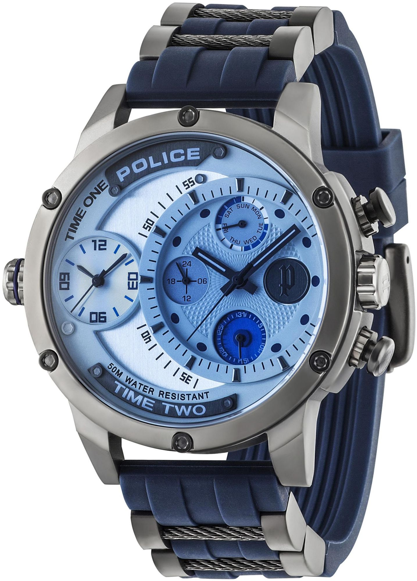 POLICE Adder Dual-Time Herrenuhr Police silber