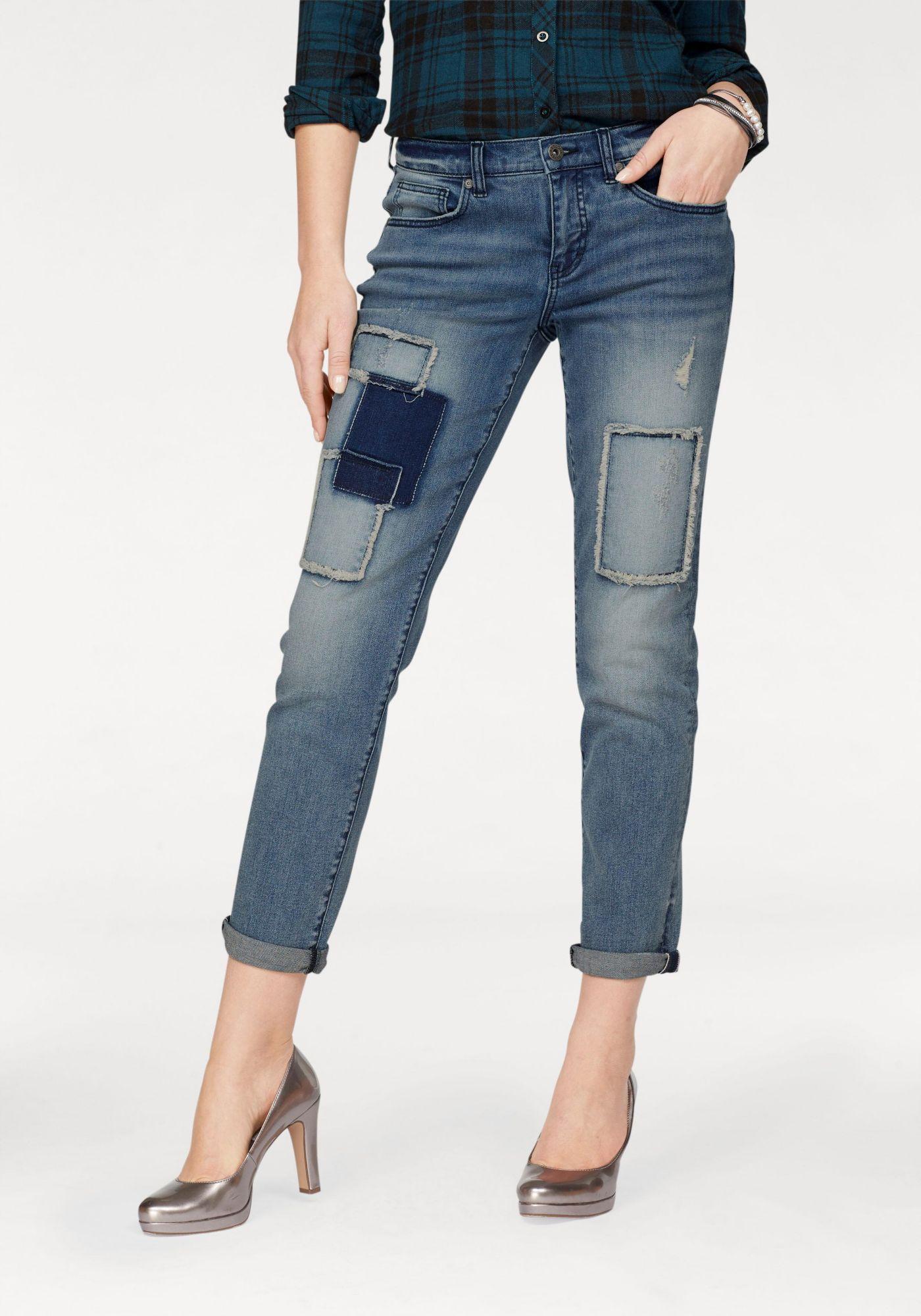 ARIZONA Arizona Boyfriend-Jeans »mit Destroyed Effekten und Patches«