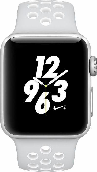 APPLE Apple Watch Nike+ 38mm Aluminiumgehäuse Silber mit Nike Sportarmband Weiß