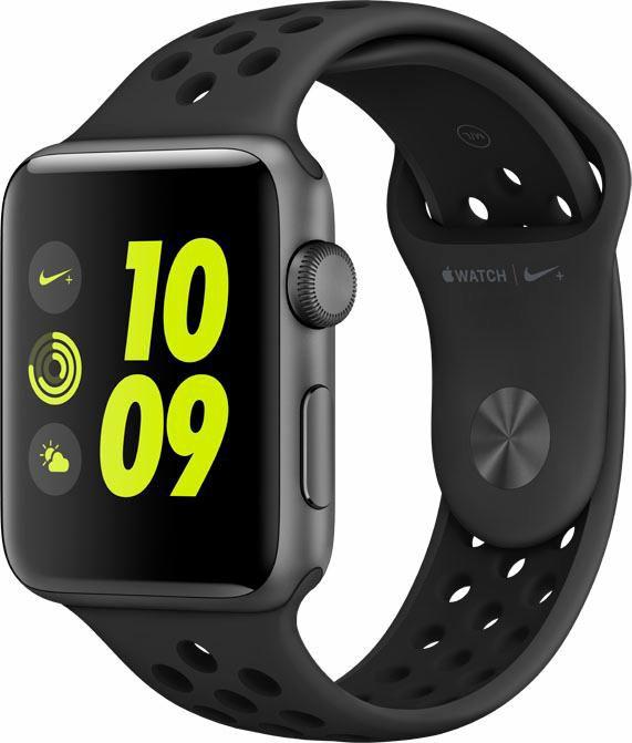 APPLE Apple Watch Nike+ 42mm Aluminiumgehäuse Space Grau mit Nike Sportarmband Schwarz