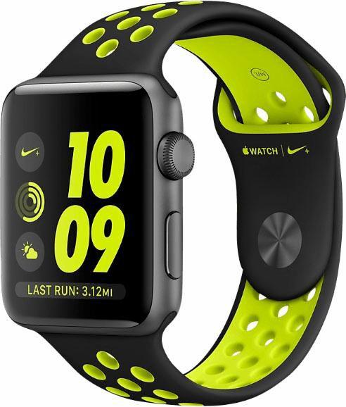 APPLE Apple Watch Nike+ 38mm Space Grau Aluminiumgehäuse, mit Nike Sportarmband, Black/Volt