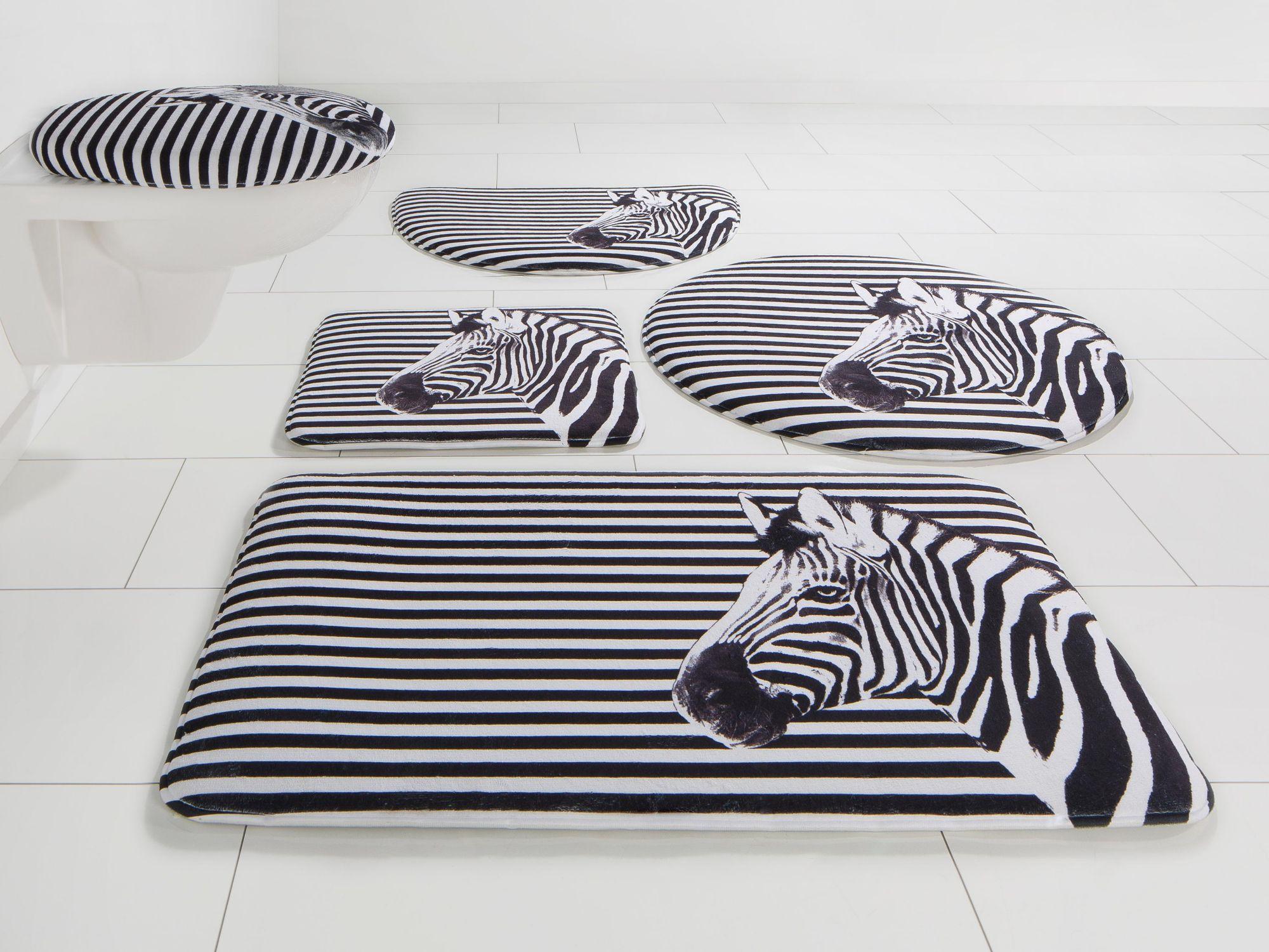 BRUNO BANANI Badematte, 3 tlg. Hänge WC-Set, Bruno Banani, »Zebra«, Höhe 14 mm