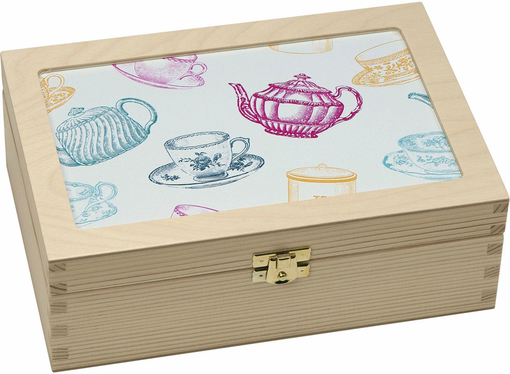CONTENTO Contento Teebox »Tassen/Kannen grafisch«, Holz