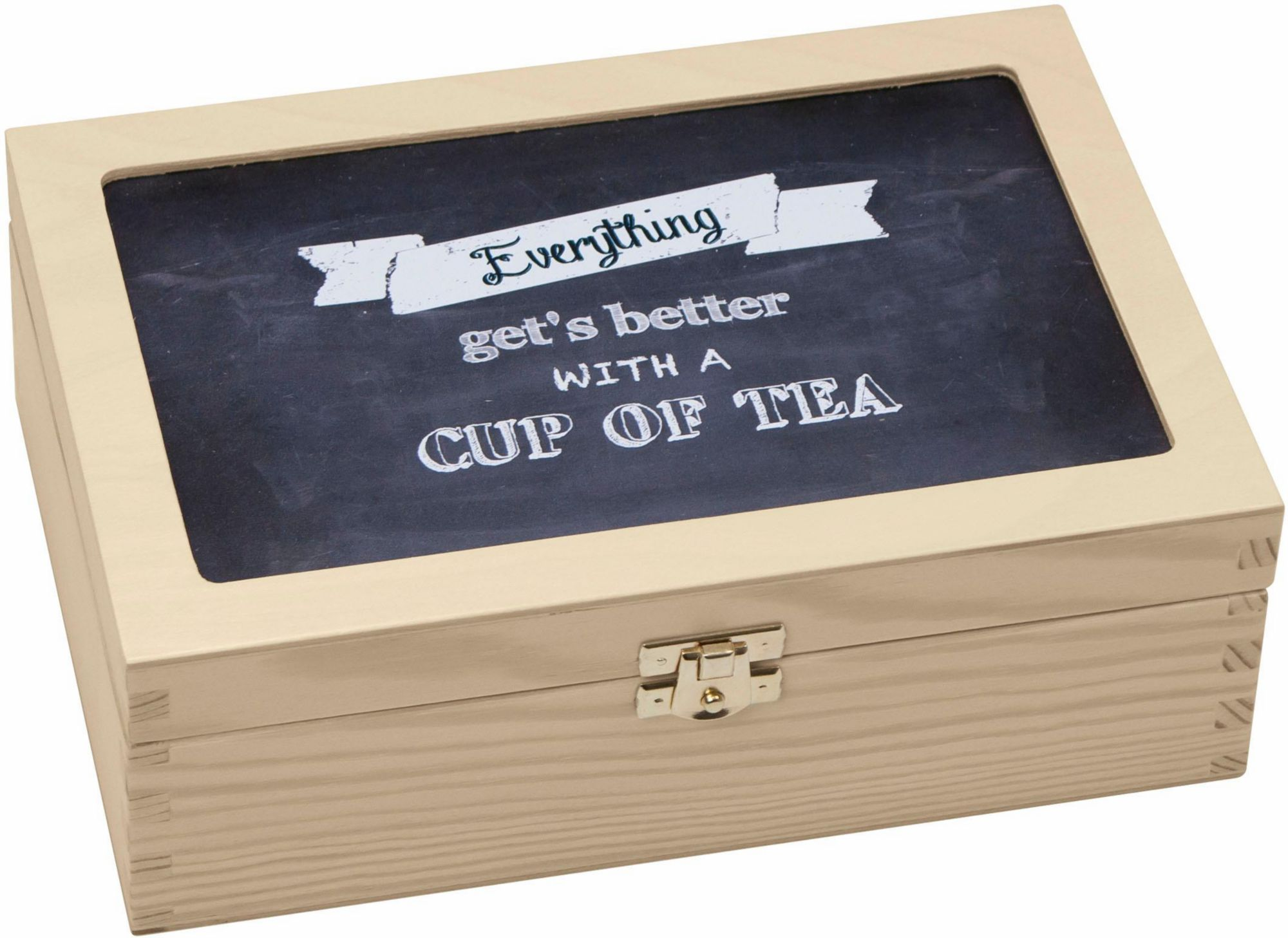CONTENTO Contento Teebox »Everything gets better with a cup of tea«, Holz