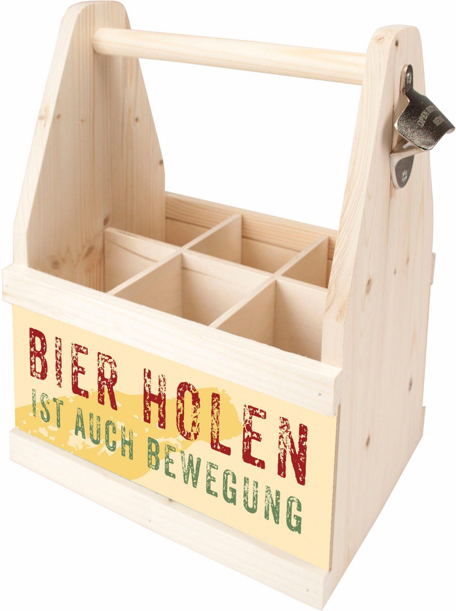CONTENTO Contento Bier Caddy »Bierholen ist auch Bewegung«, Holz