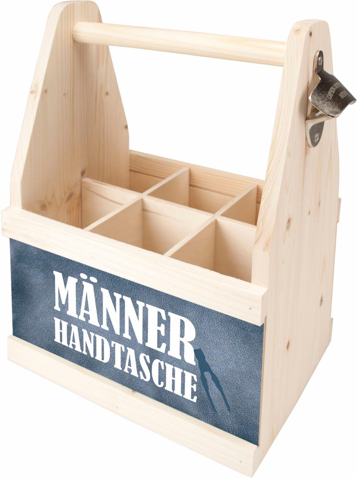 CONTENTO Contento Bier Caddy »Männer Handtasche«, Holz