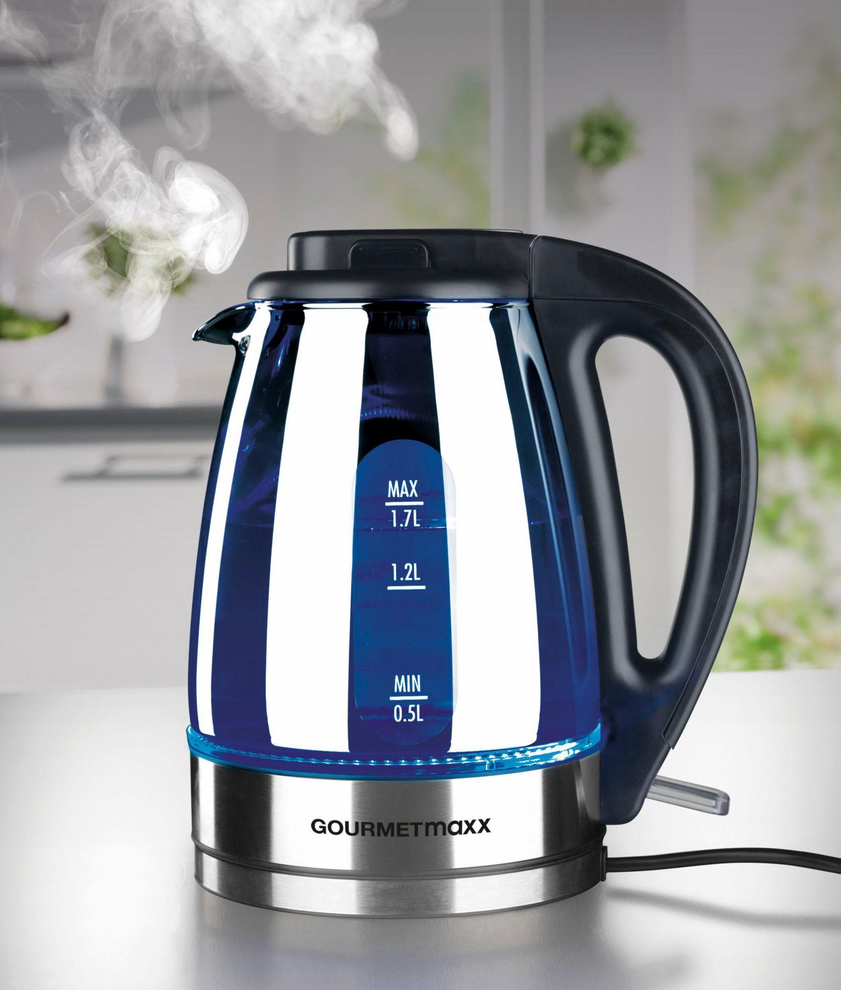 GOURMETMAXX Gourmet Maxx Wasserkocher Glas LED 2000W