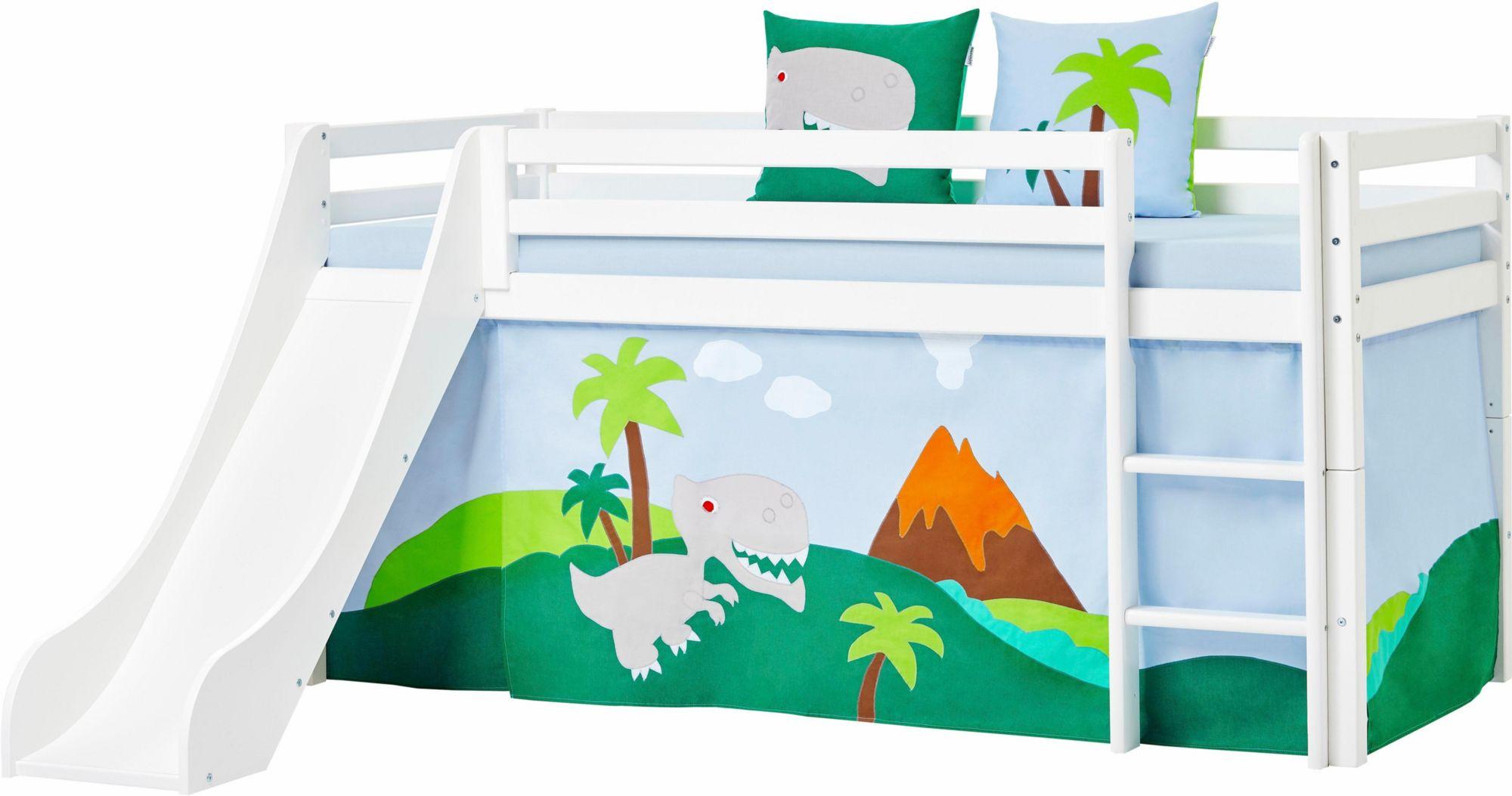 HOPPEKIDS Hoppekids Halbhohes Bett »Dinosaurier«, inkl. Vorhang-Set, Matratze und Rollrost