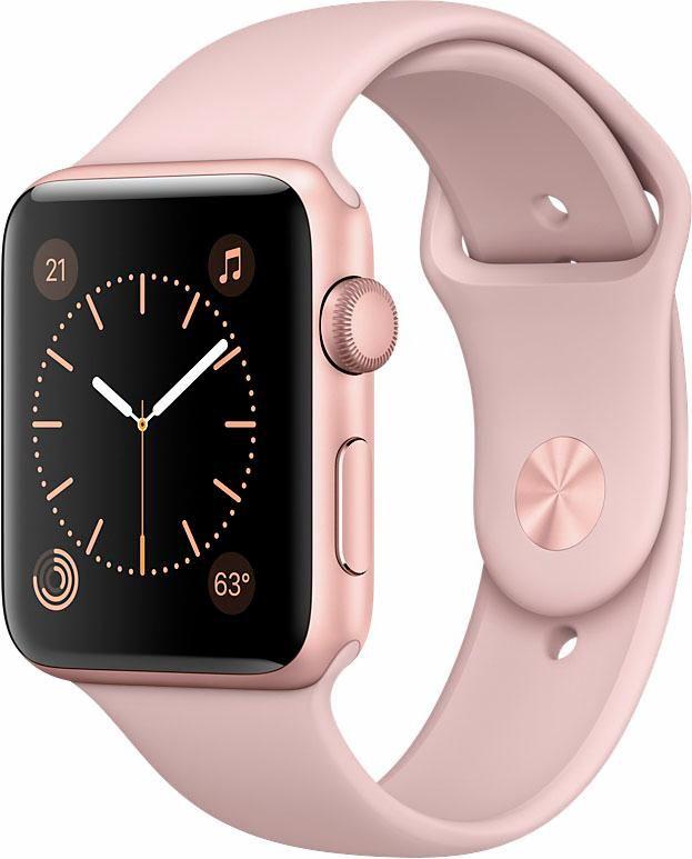 APPLE Apple Watch Aluminiumgehäuse Roségold, 42mm, mit Sportarmband