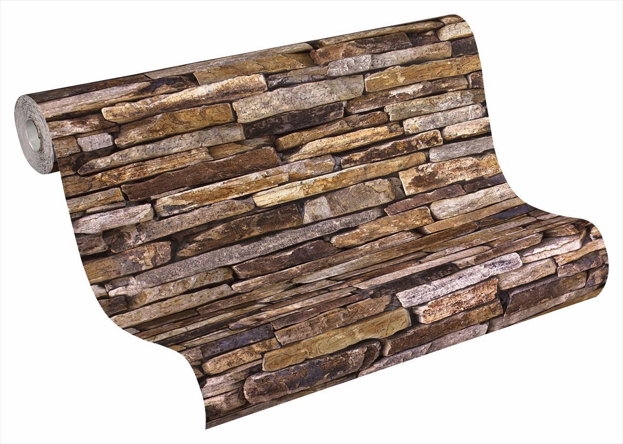 LIVINGWALLS A.S. Creation Vliestapete Steinmaueroptik Woodn Stone Bunt