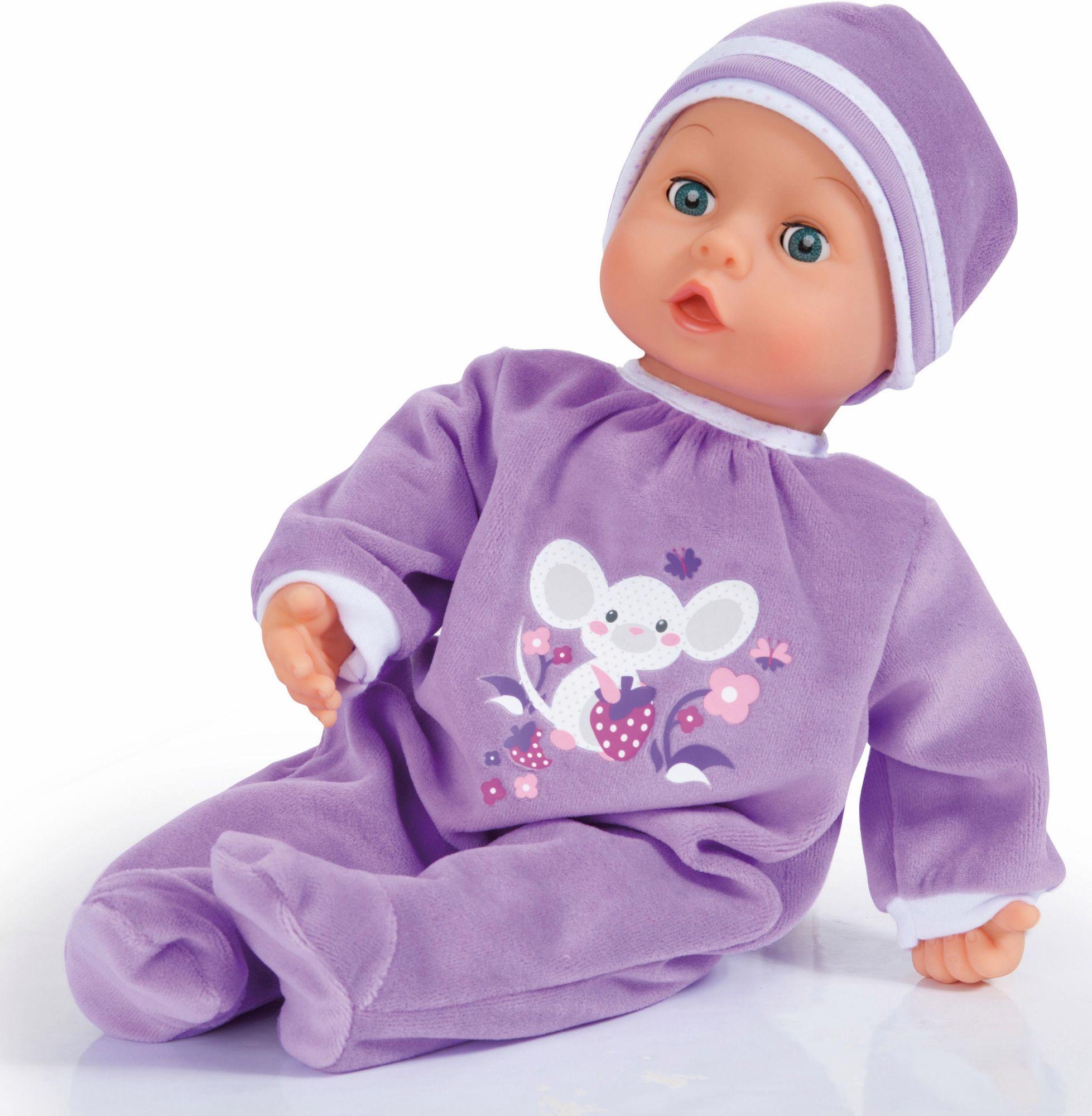 BAYER Bayer Design Babypuppe mit Schlafaugen und Funktion, »First Words Baby, lila 38 cm«