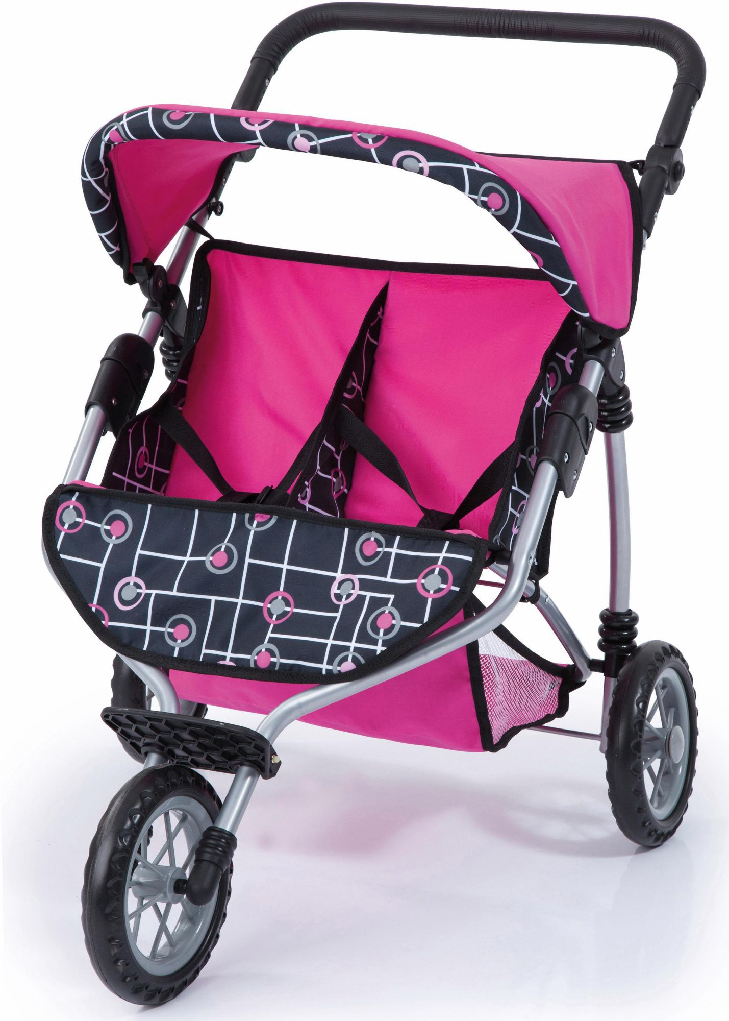 BAYER Bayer Design Puppenwagen , »Zwillingsjogger, pink/schwarz«