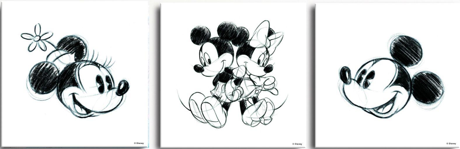 GRAHAM BROWN GRAHAM & BROWN Leinwand »Leinwandbild Mickey & Minnie Sketches, 3-er Set«