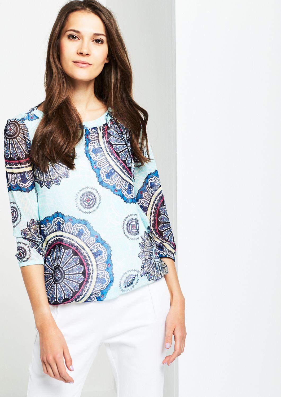 COMMA  3/4-Arm Shirt aus hauchzartem Mesh