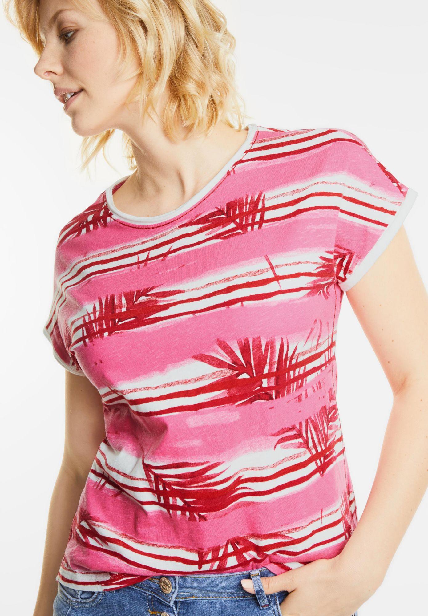 CECIL  Blätterprint Streifenshirt