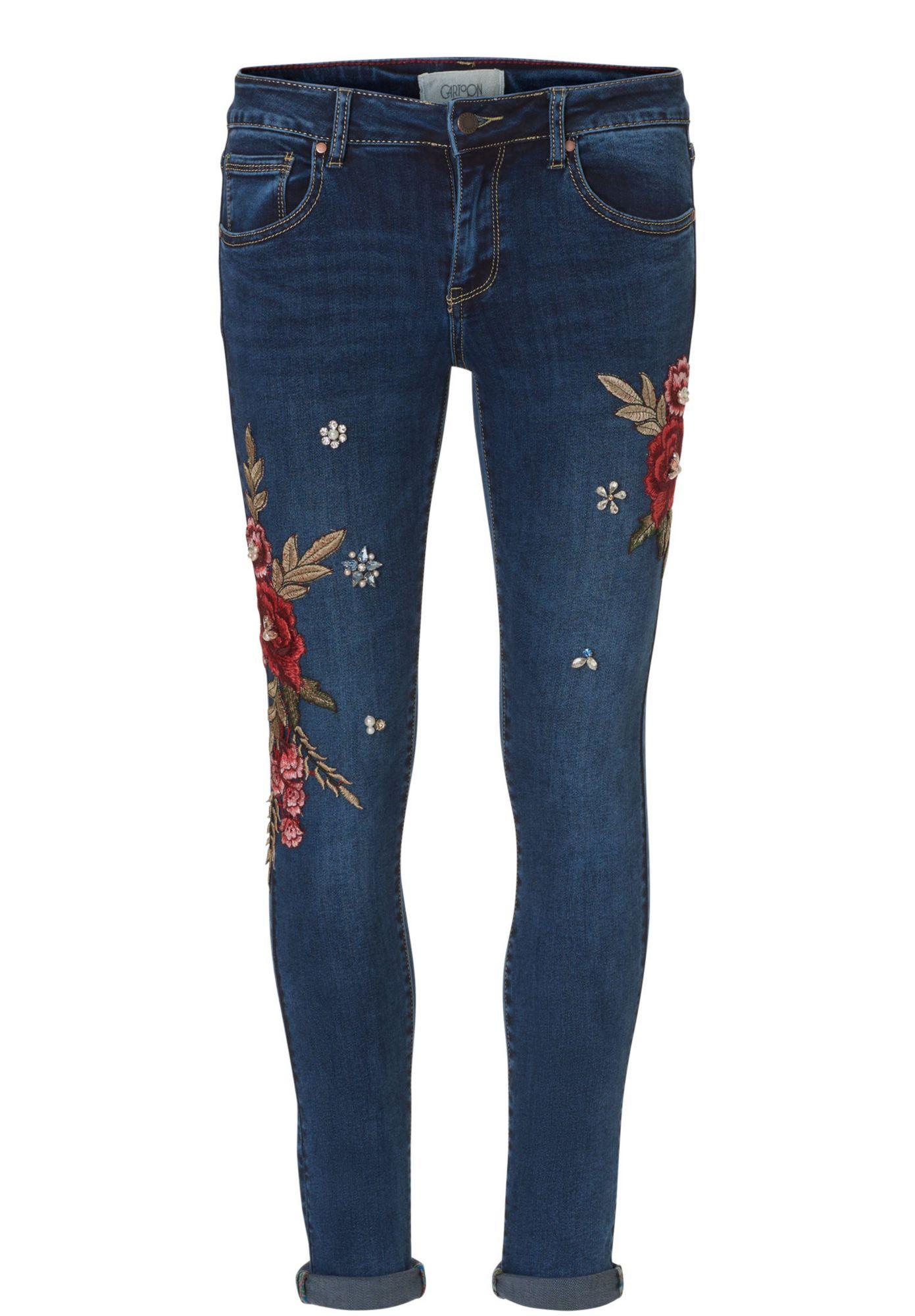 CARTOON Cartoon Jeans mit Blumenstickerei