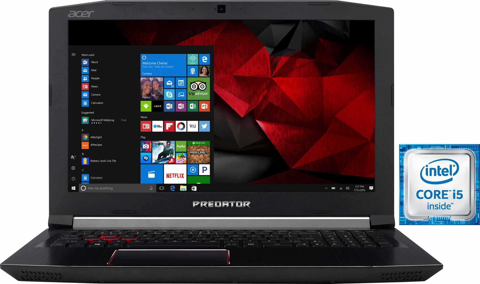 ACER Acer Predator PH317-51-56LW Notebook, Intel® Core? i5, 43,9 cm (17,3 Zoll), 1256 GB Speicher