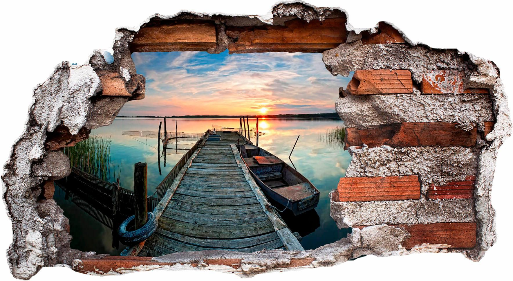3D Wandtattoo »Sunset at the lake«, 80/43 cm