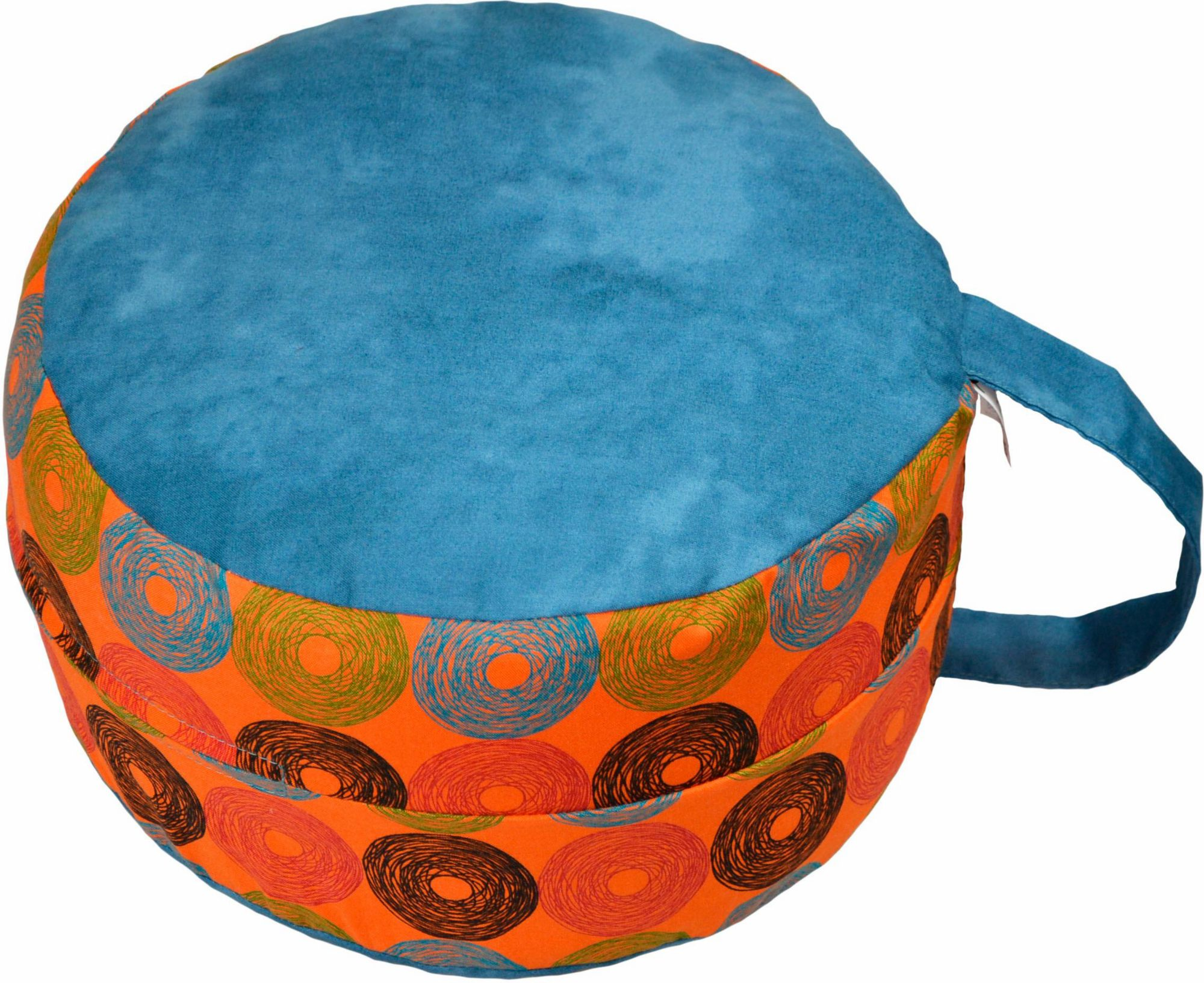 HERBALIND Mediations-/Yogakissen, »6520 blau/Retrokreise orange«, Herbalind