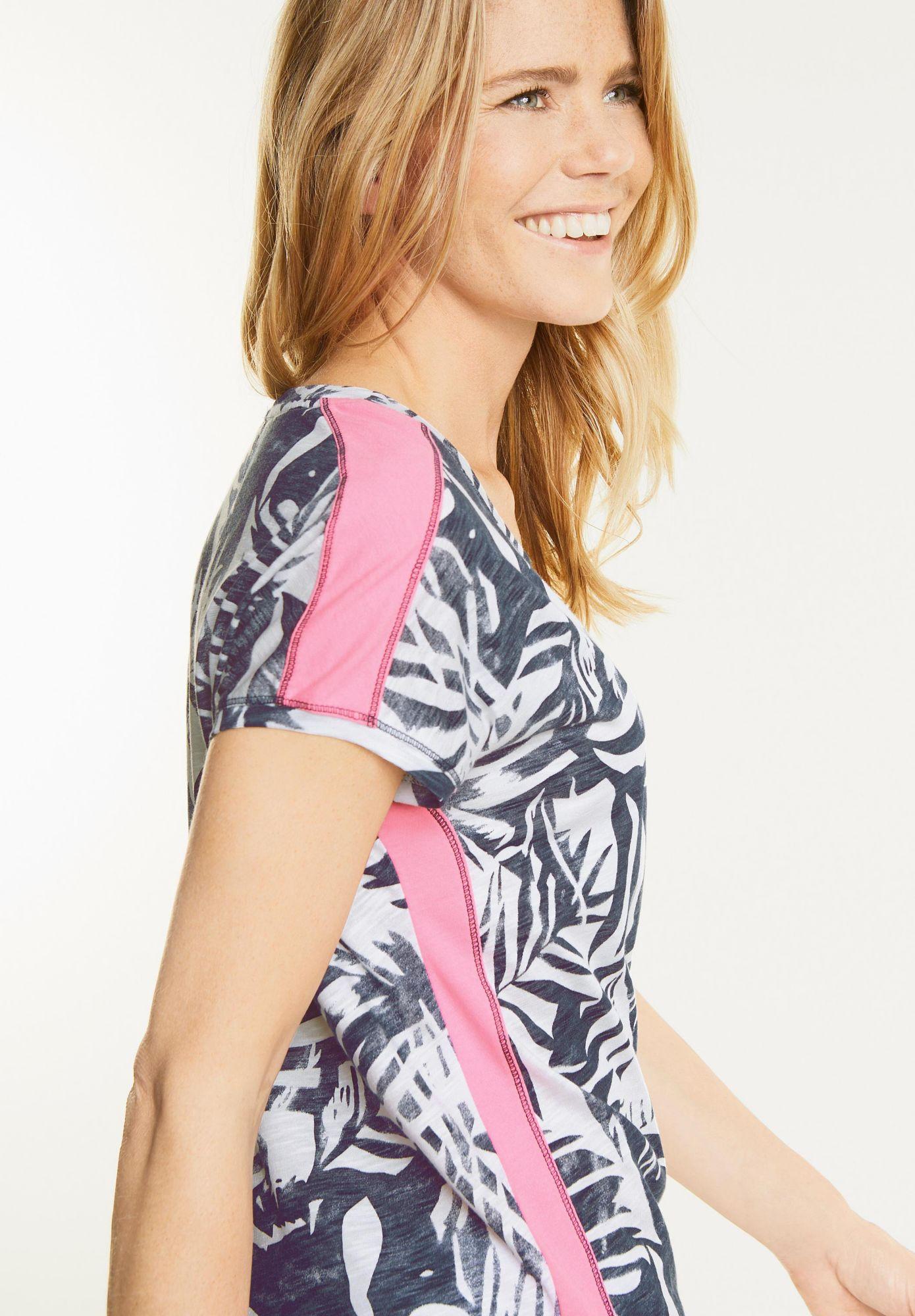 CECIL  Blätter Shirt mit Neon