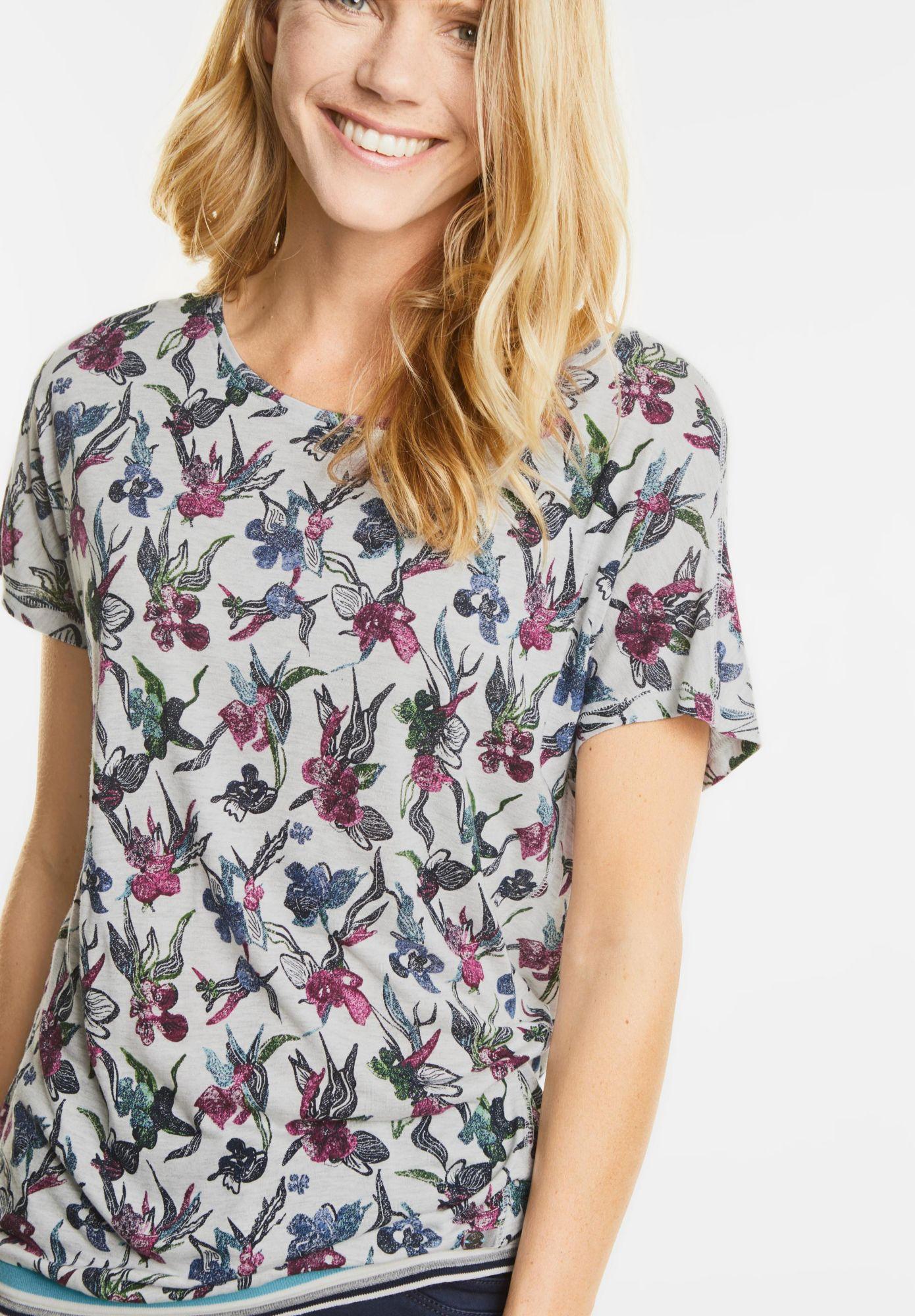 CECIL  Blütenshirt mit Streifenbund