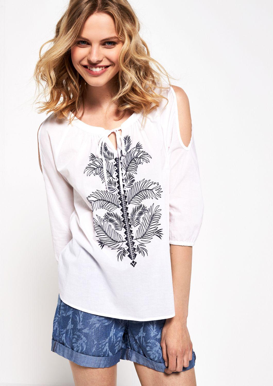 COMMA  3/4-Arm Baumwollbluse mit Floralstickereien