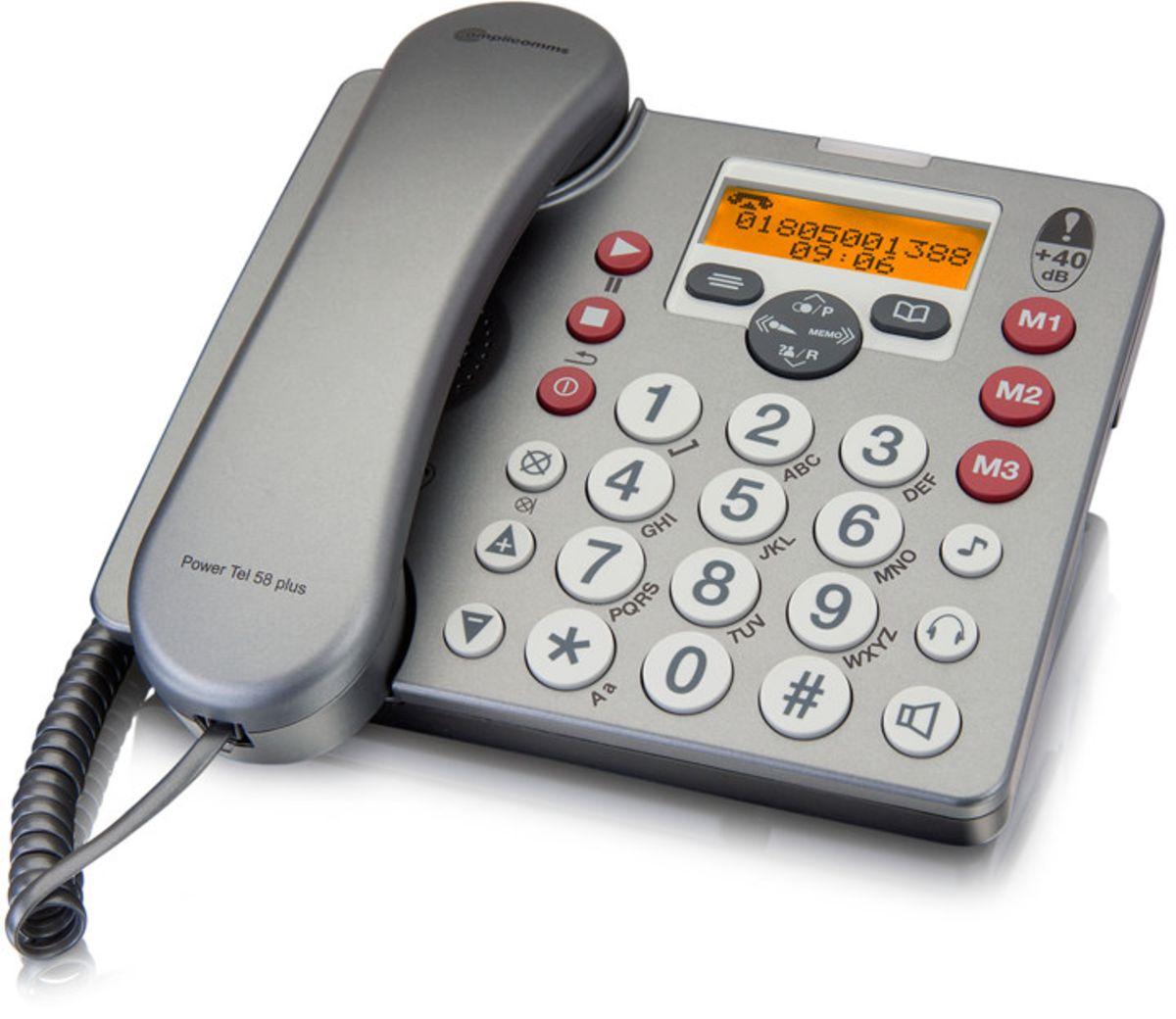 AMPLICOMMS amplicomms Großtastentelefon »PowerTel 58 plus«