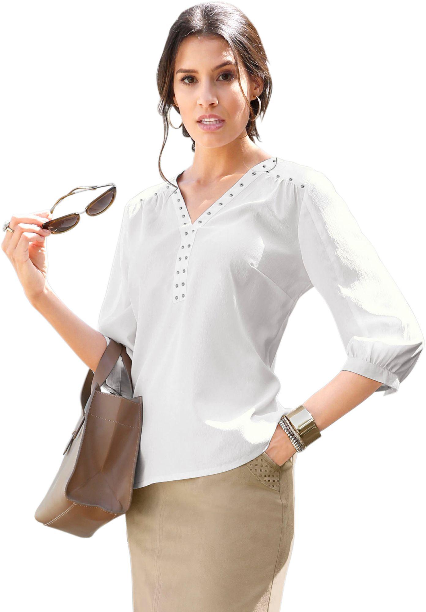 CLASSIC INSPIRATIONEN Classic Inspirationen Bluse mit dekorativen Metall-Plättchen