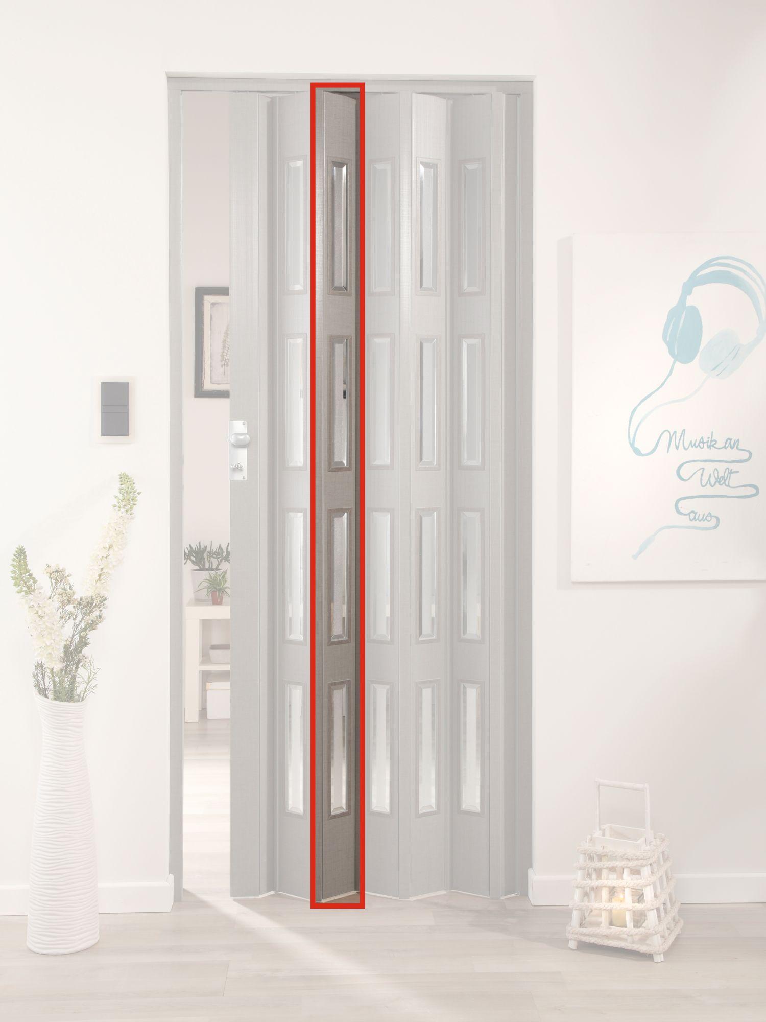 FORTE  Türerweiterung , Zusatzlamelle für Falttür »Elvira«, grau gewebt + 4 Fenster