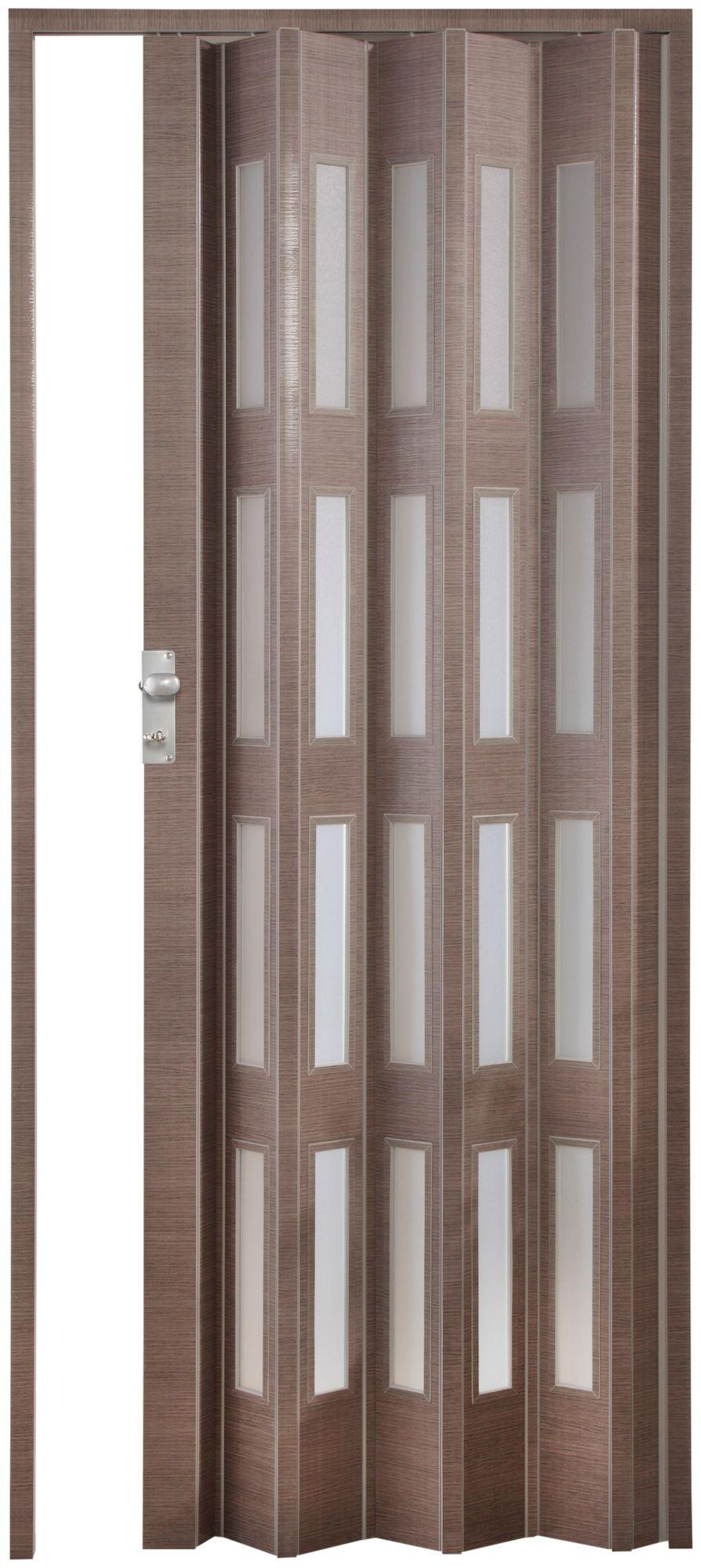 FORTE  Kunststoff-Falttür »Elvira«, eiche taupe, mit 4 satinierten Fenstern
