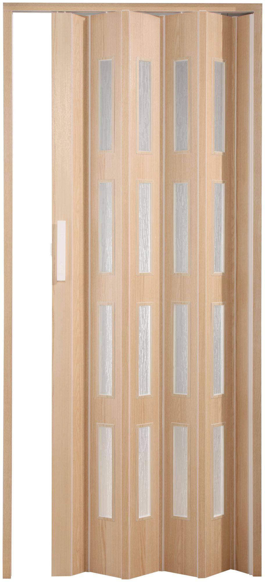 FORTE  Kunststoff-Falttür »Luciana«, esche holz, mit 4 Fenstern in Riffelstruktur