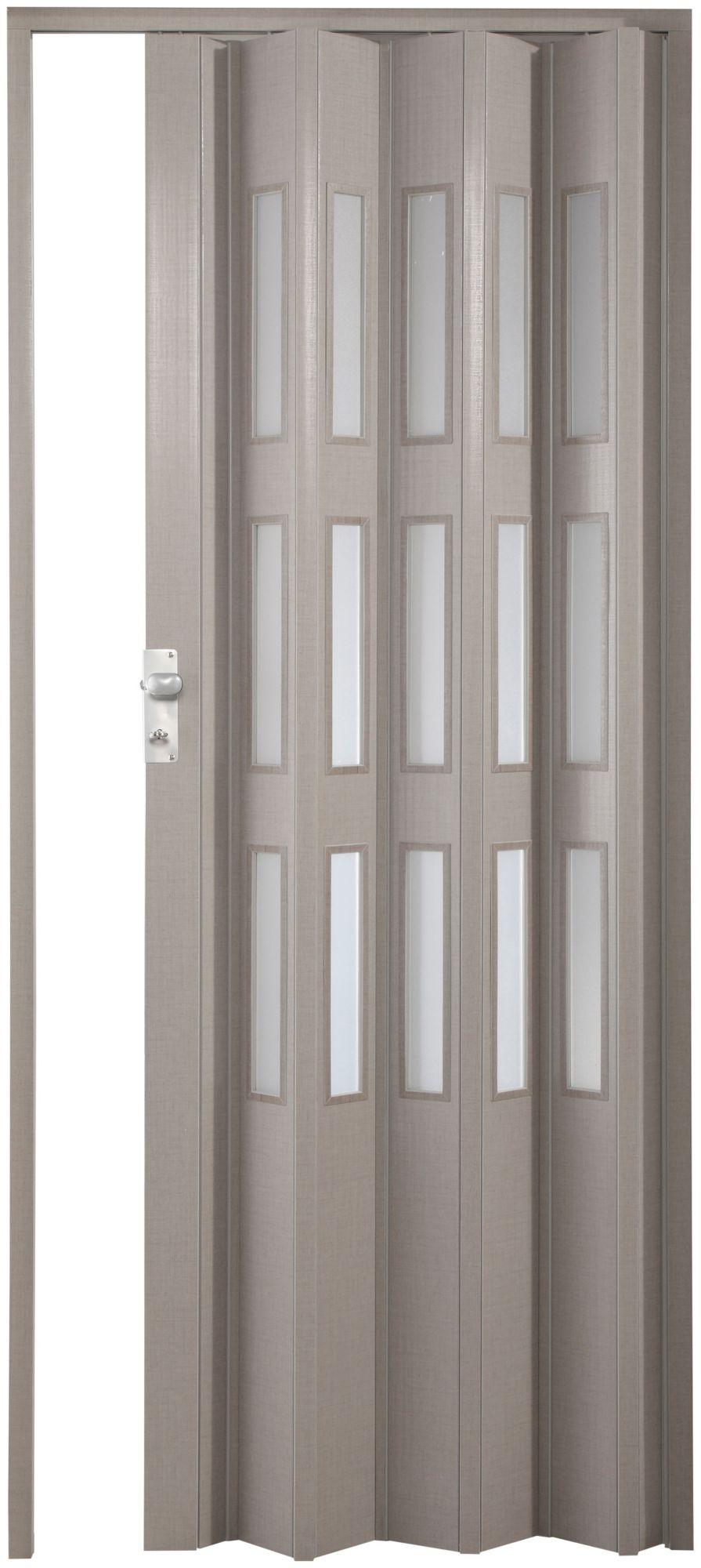 FORTE  Kunststoff-Falttür »Elvira«, grau gewebt, mit 3 satinierten Fenstern