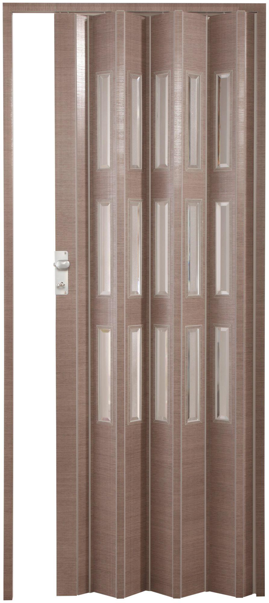 FORTE  Kunststoff-Falttür »Elvira«, eiche taupe, mit 3 Fenstern in Cristall