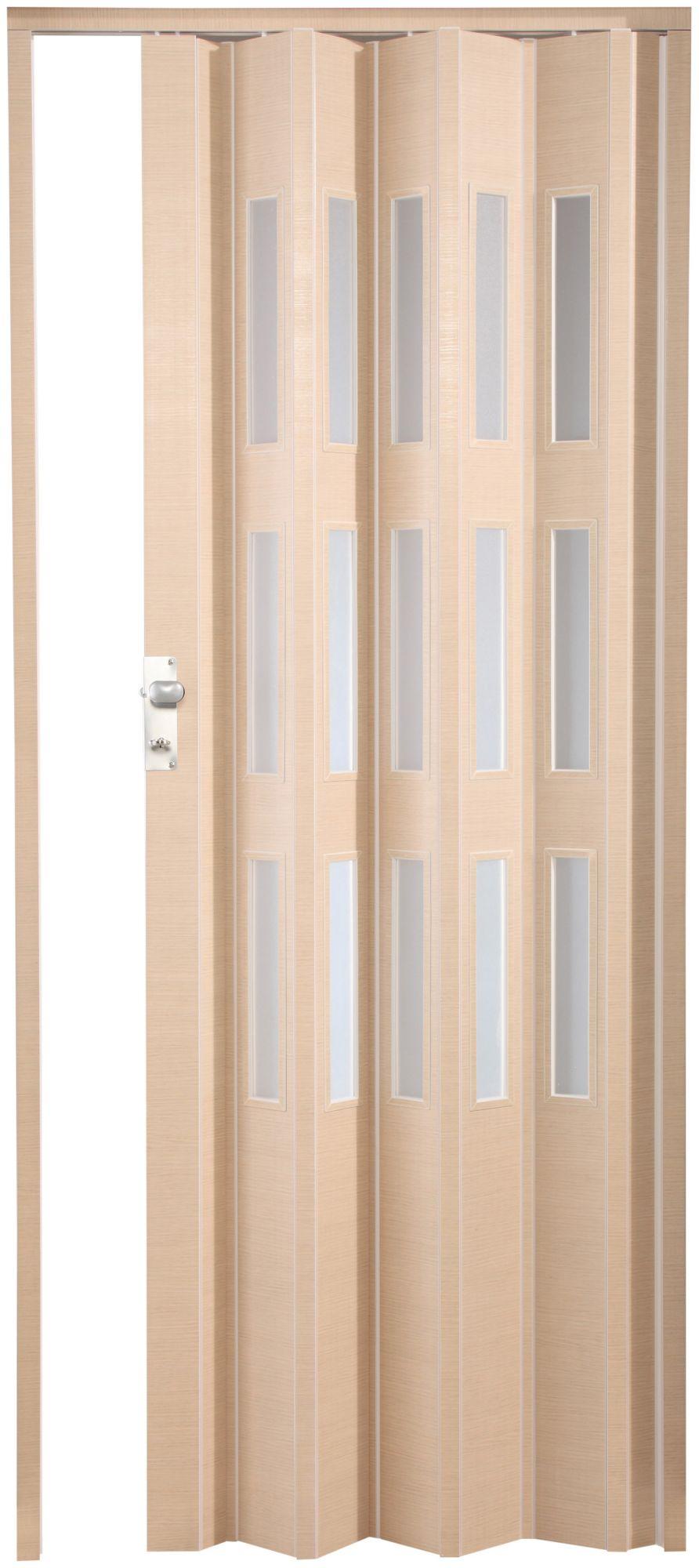 Kunststoff-Falttür »Elvira«, Höhe nach Maß, Wildeiche natur mit satinierten Fenstern