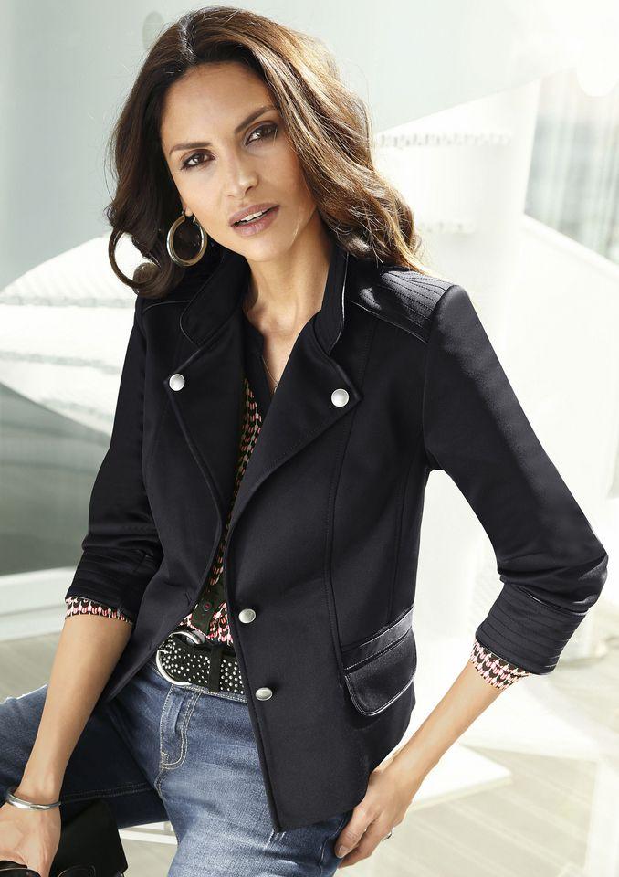 ALESSA W Alessa W. Jersey-Blazer mit Lederimitat-Besatz