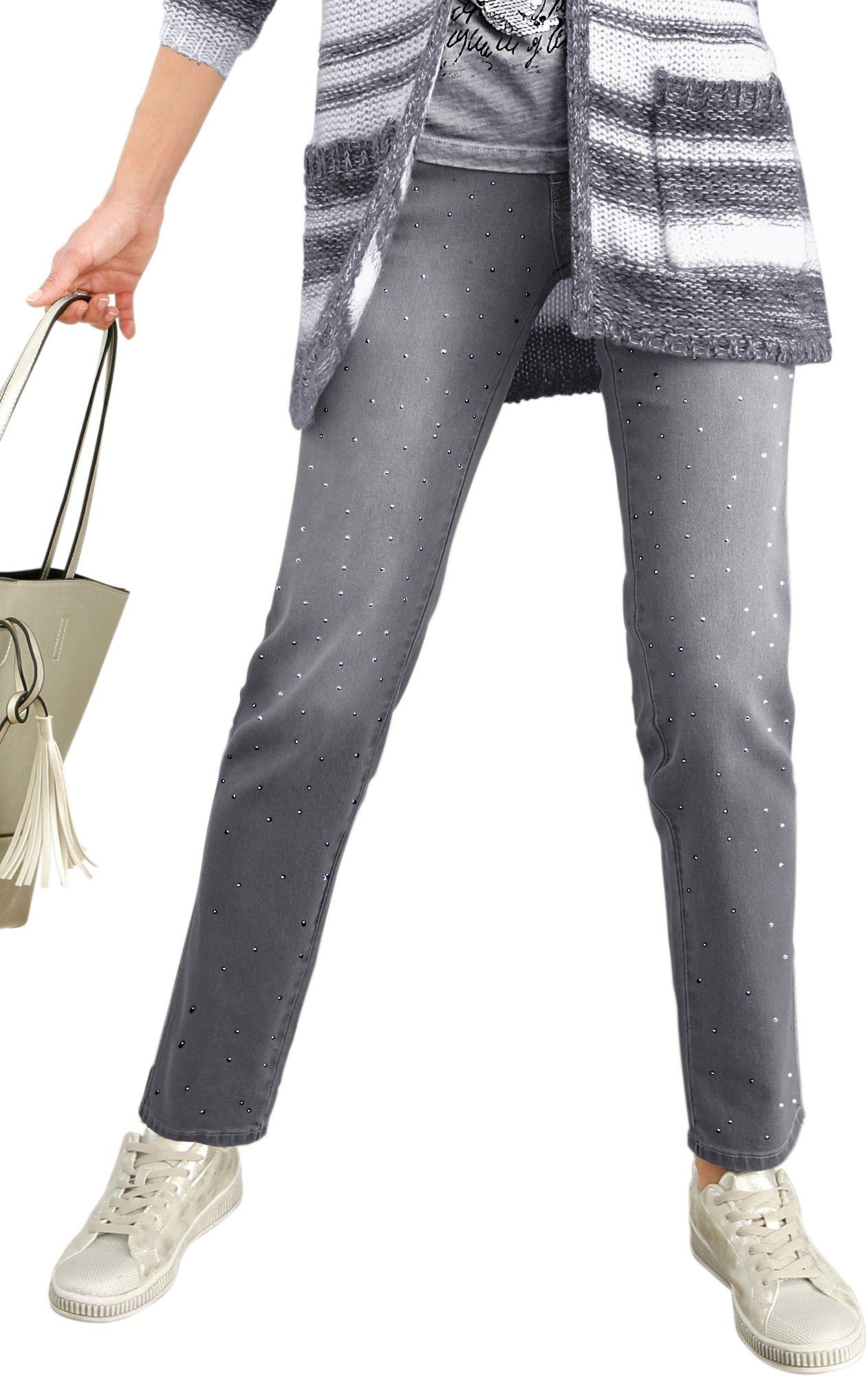 ALESSA W Alessa W. Jeans mit unzähligen, aufgesetzten Metallsteinchen