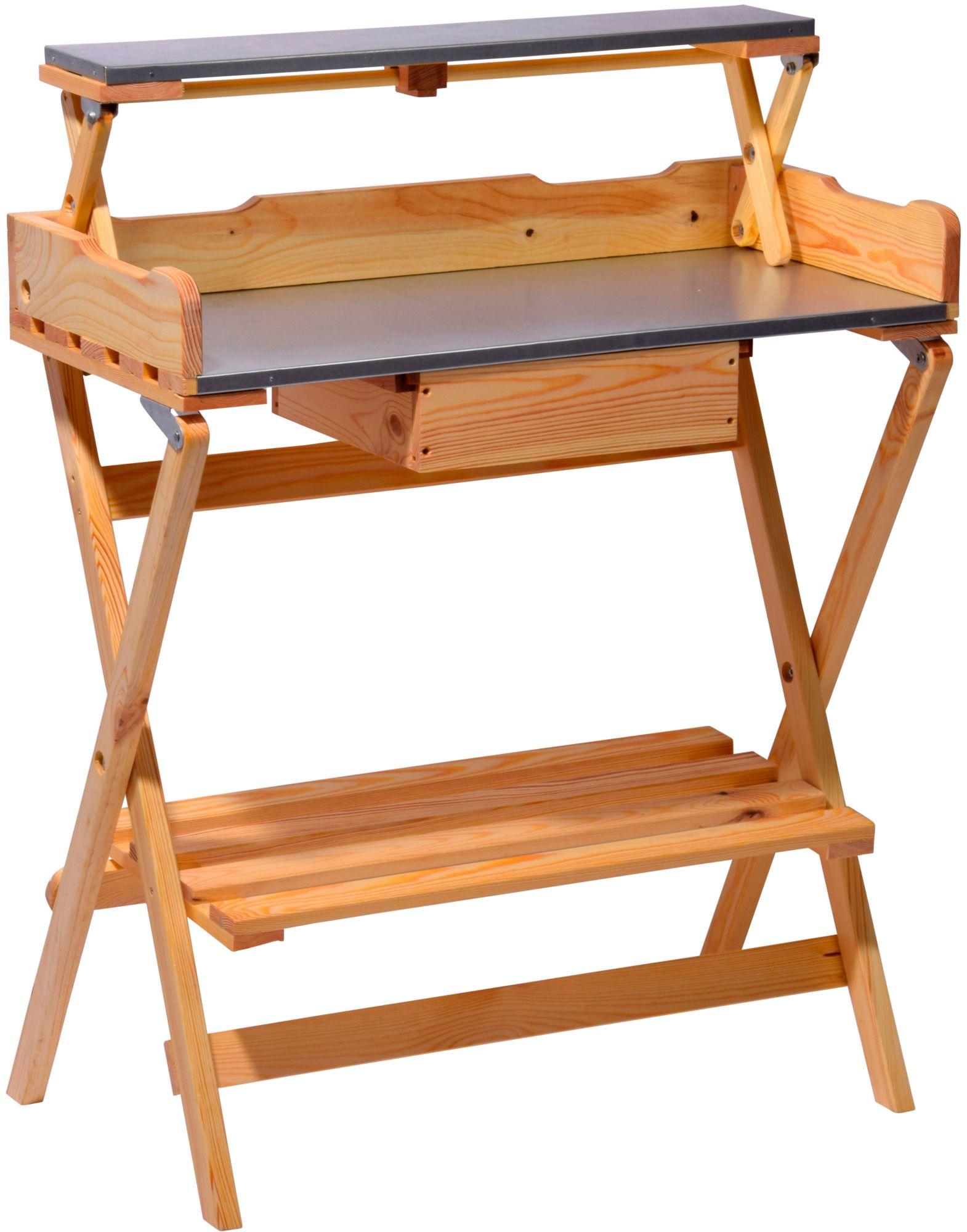 DOBAR Dobar 57015e Pflanztisch mit großer Schublade, 80 x 40 x 100 cm
