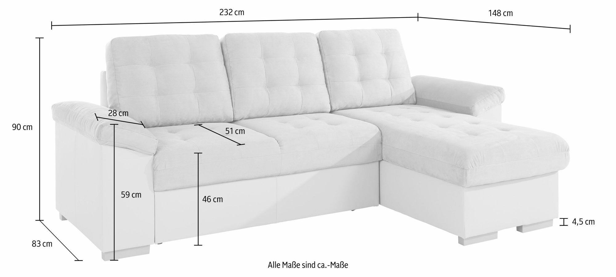 COTTA Cotta Polsterecke XL, wahlweise mit Bettfunktion und Bettkasten