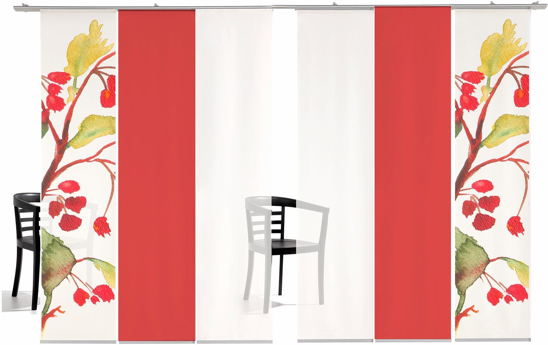 EMOTIONTEXTILES Schiebegardine, emotion textiles, »Kirschblüten Farbig«, mit Klettband (6 Stück mit Zubehör)