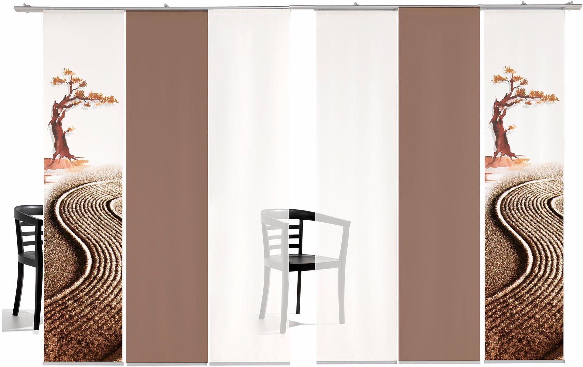 EMOTIONTEXTILES Schiebegardine, emotion textiles, »Bonsai farbig«, mit Klettband (6 Stück mit Zubehör)