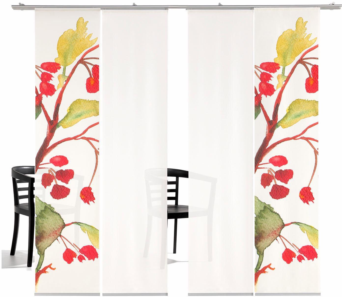 EMOTIONTEXTILES Schiebegardine, emotion textiles, »Kirschblüten HA«, mit Klettband, Mehrfachsets (mit Zubehör)