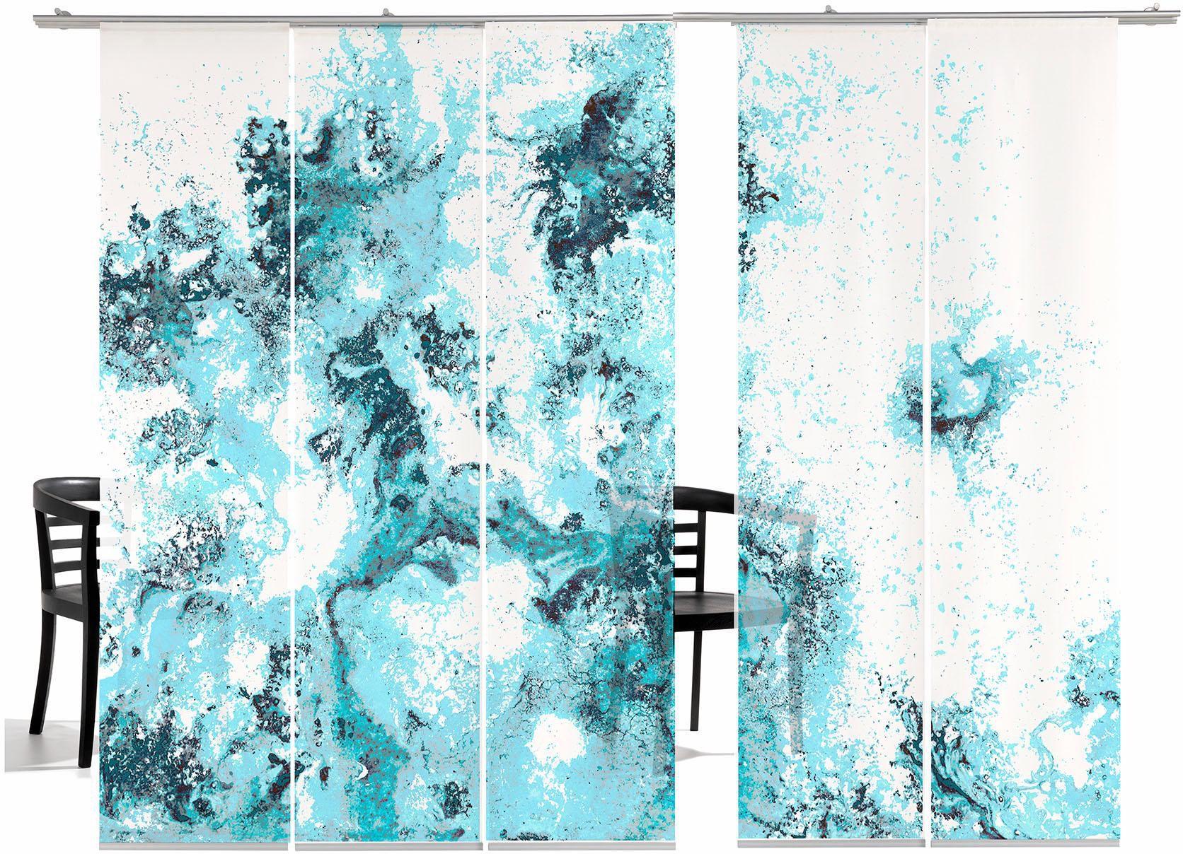 EMOTIONTEXTILES Schiebegardine, emotion textiles, »Deep Ocean TR«, mit Klettband (5 Stück mit Zubehör)