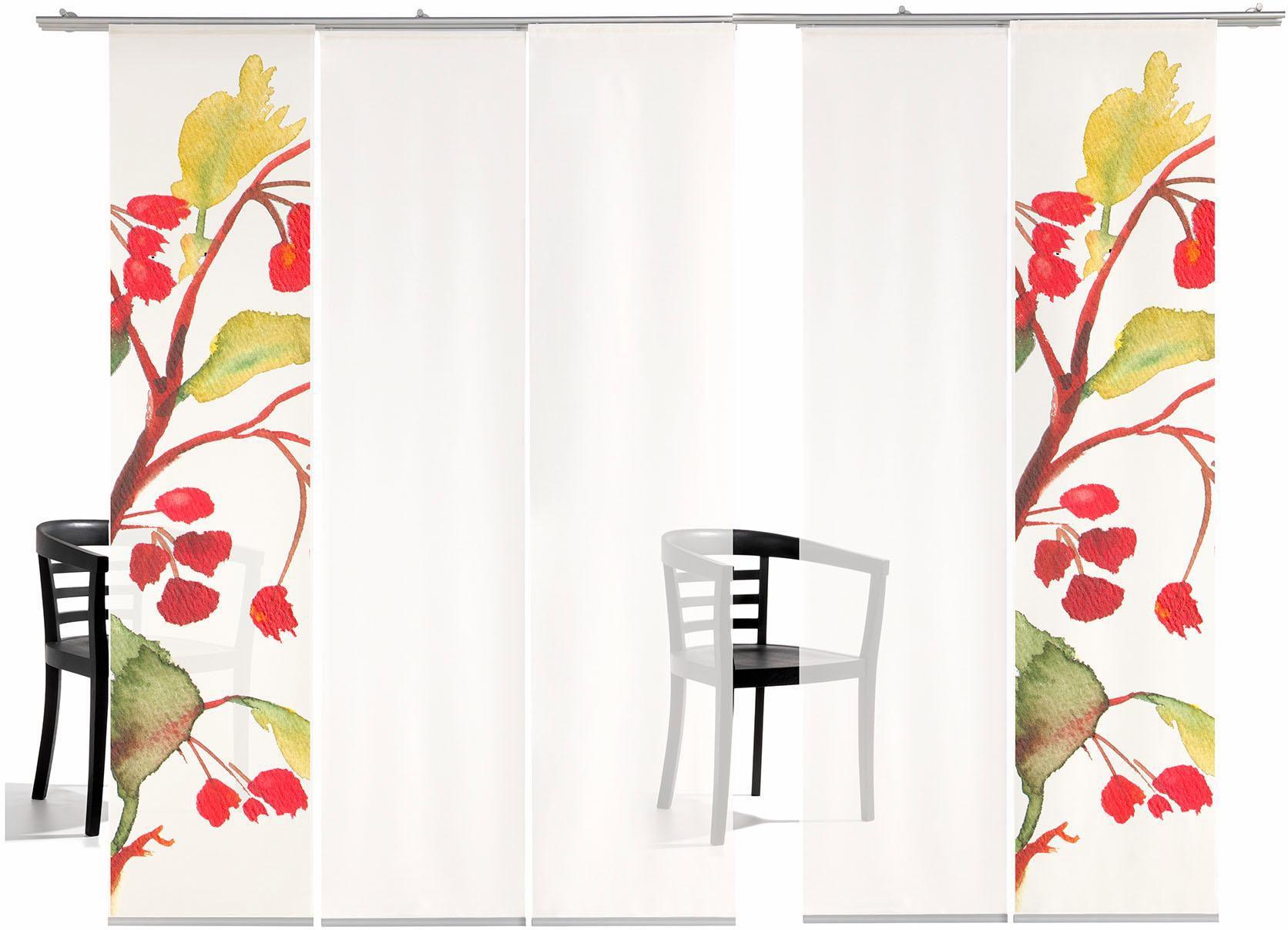 EMOTIONTEXTILES Schiebegardine, emotion textiles, »Kirschblüten TR«, mit Klettband, Mehrfachsets (mit Zubehör)