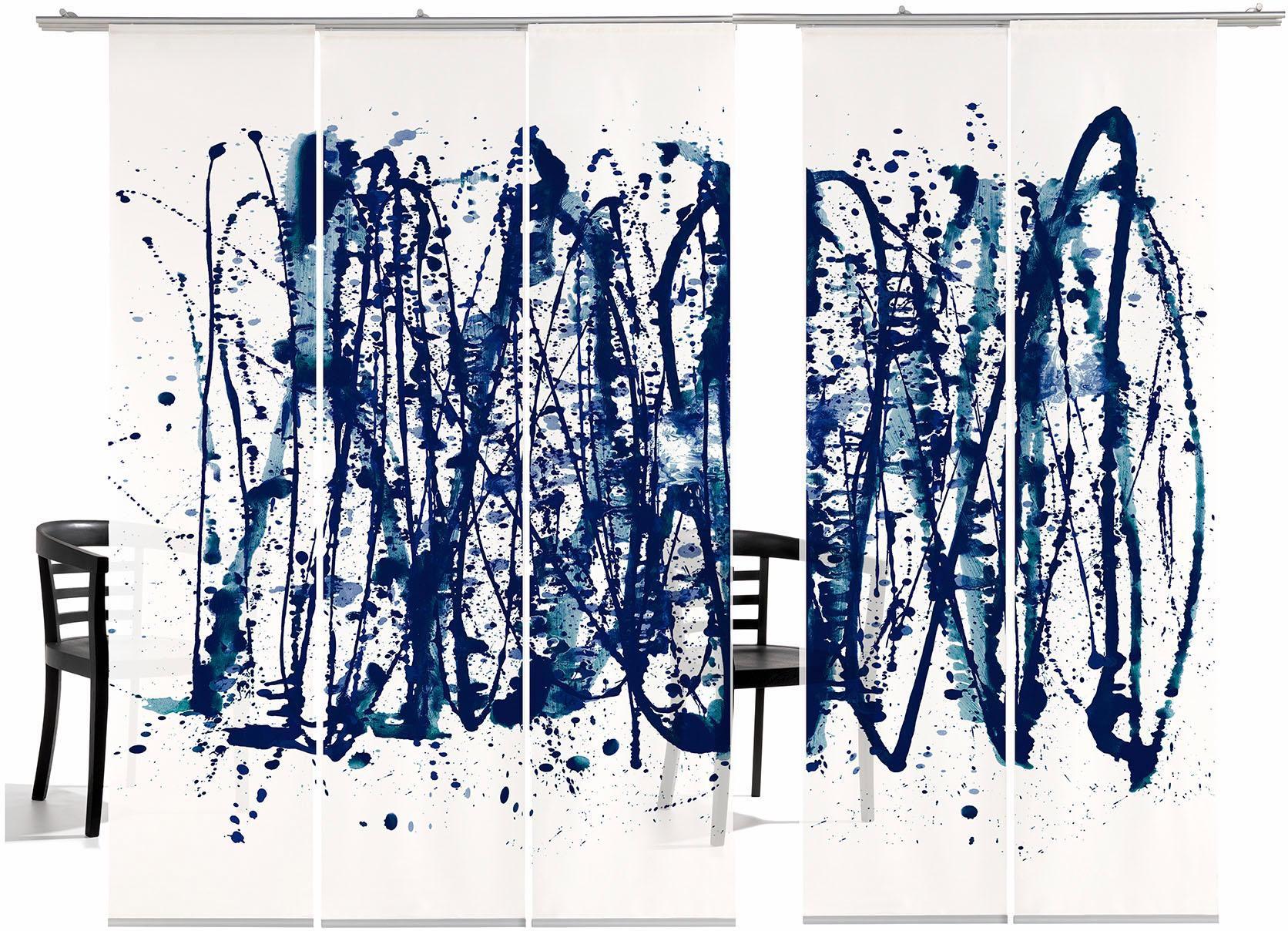 EMOTIONTEXTILES Schiebegardine, emotion textiles, »Ala Polock HA«, mit Klettband (5 Stück mit Zubehör)