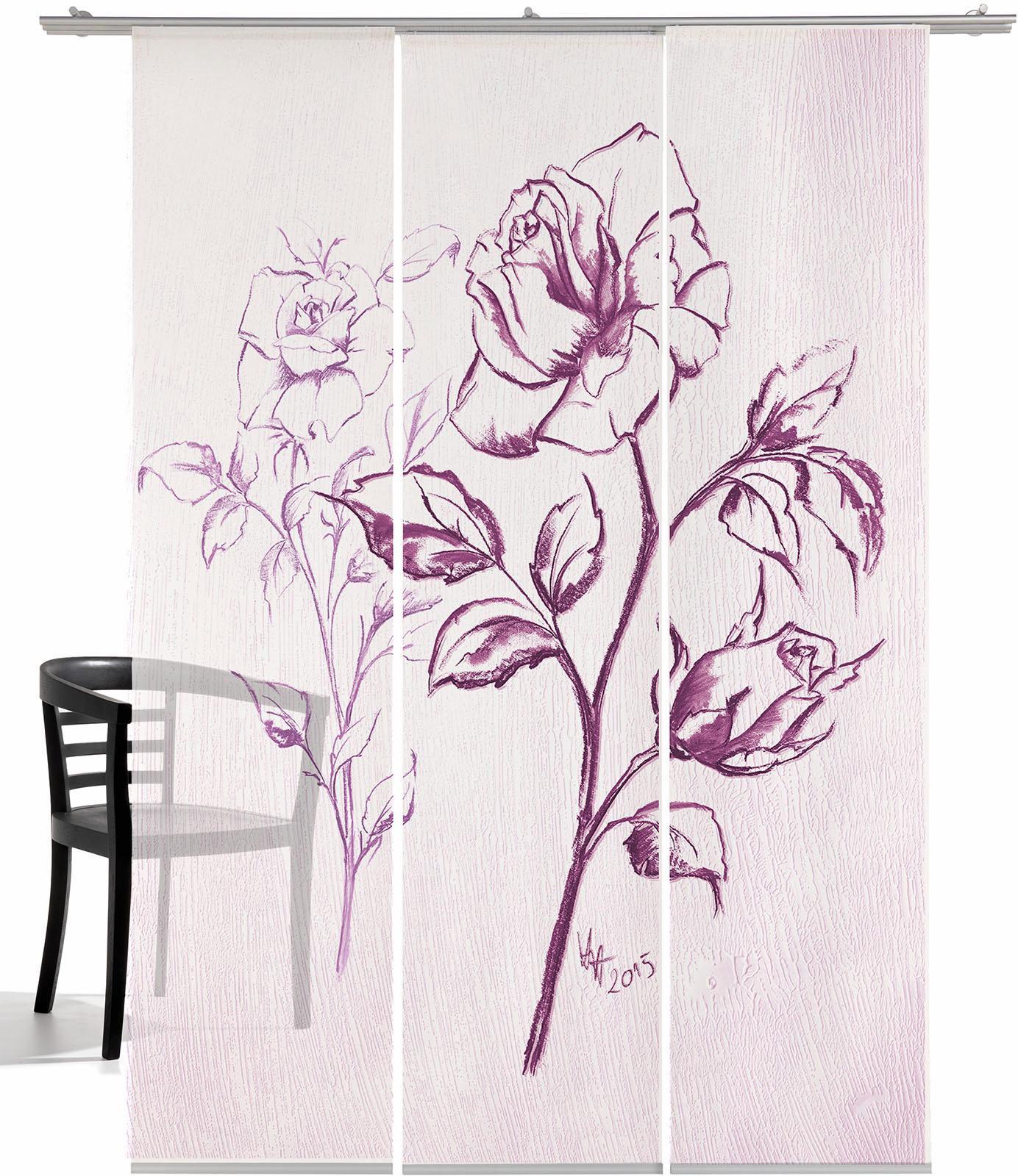 EMOTIONTEXTILES Schiebegardine, emotion textiles, »Kreide Rose T«, mit Klettband (3 Stück mit Zubehör)