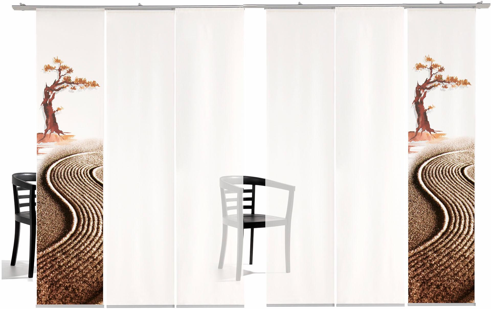 EMOTIONTEXTILES Schiebegardine, emotion textiles, »Bonsai TR«, mit Klettband, Mehrfachsets (mit Zubehör)