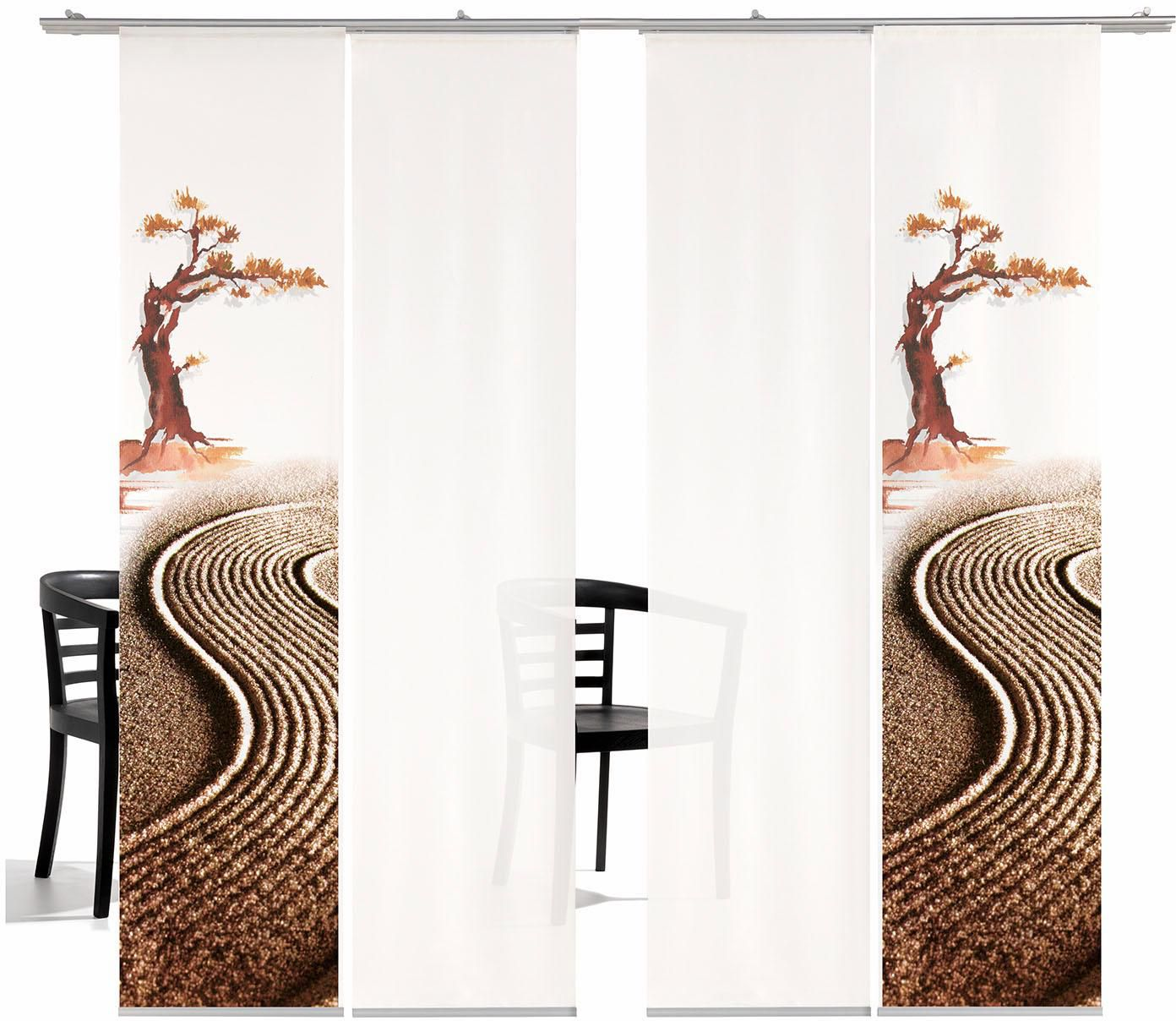 EMOTIONTEXTILES Schiebegardine, emotion textiles, »Bonsai HA«, mit Klettband, Mehrfachsets (mit Zubehör)