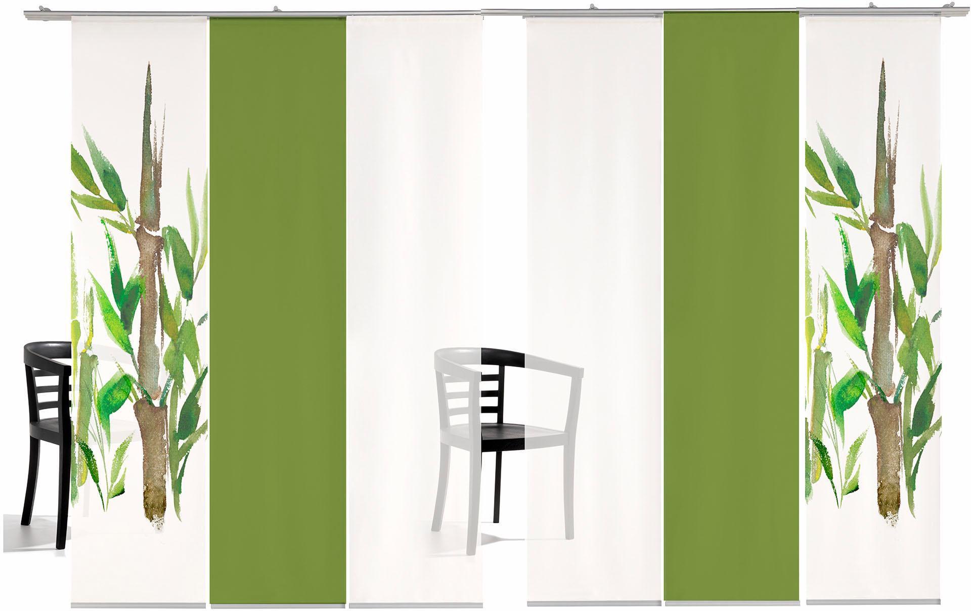 EMOTIONTEXTILES Schiebegardine, emotion textiles, »Bambus SET«, mit Klettband (6 Stück mit Zubehör)