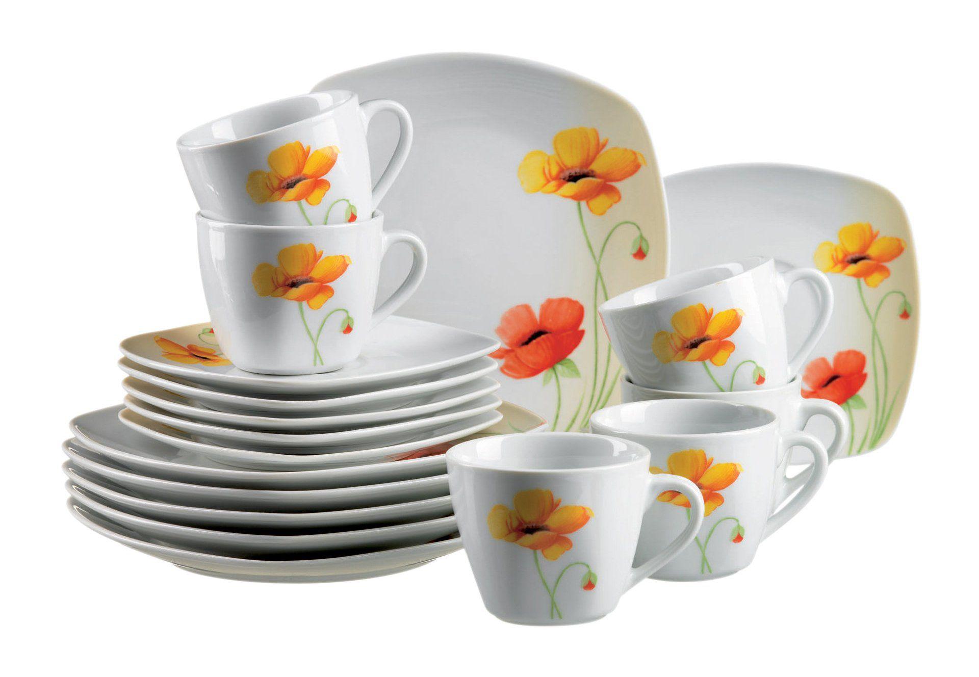DOMESTIC Domestic Kaffeeservice, Porzellan, »PAPAVERO« (18-teilig)