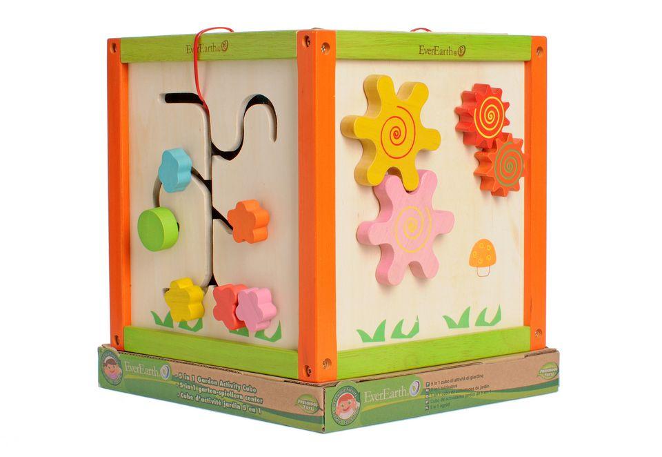 EVEREARTH® Spielcenter aus Holz, EverEarth®, 5-in-1 Garten-Spiel-Würfel